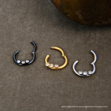 16G 316L anillo de acero quirúrgico con bisagras anillo de perforación Clicker