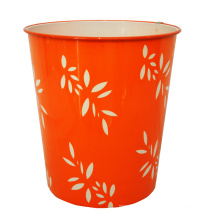 Plastic Leaf Design Printed Orange Open Top Dustbin (B06-821)