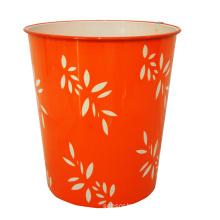 Plastic Leaf Design Printed Orange Open Top Dustbin (B06-821)