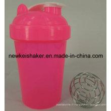 Bouteille de secousse à protéines plastiques populaires de 500 ml avec couvercle