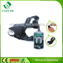 Outdoor Camping hand crank generator rechargeable 3 led high power headlamp with strap