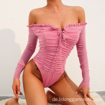Großhandel UK Gestrickt Sexy Off-Shoulder Frauen Bodysuit Top