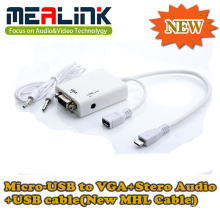 New Mhl Cable Micro-USB to VGA+Stero Audio+USB Cable (YLM-01)