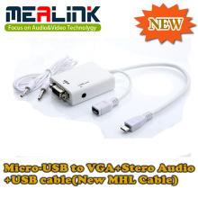 Novo cabo Mhl Micro-USB para VGA + Stero Audio + Cabo USB (YLM-01)