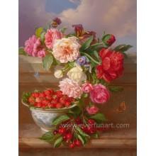 Großhandelsblumen-Vase-Anstrich-Entwürfe auf Segeltuch-Wand-Abbildung für Dekoration (ECH-119)