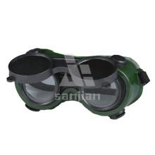 Augenschutz Klare innere Linsenbeschichtung Außenobjektiv Weiche PVC Rahmen Sicherheitsschweißbrille