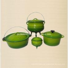4PCS Gusseisen Kochgeschirr Set in grüner Farbe