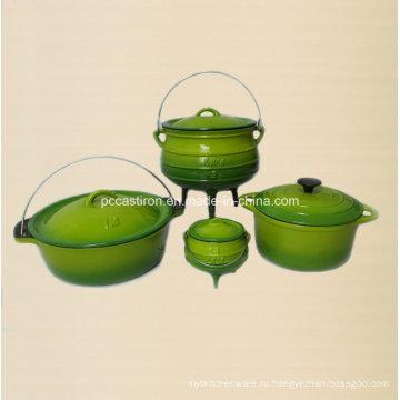 4PCS чугунная посуда в зеленом цвете