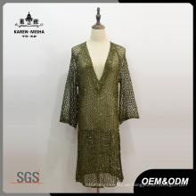 Frauen Tiefer V-Ausschnitt Mode Kleid
