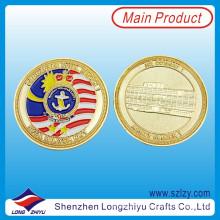 Recuerdo Monedas Personalizadas Replica Gold Plating Medallón Monedas, Metal 3D Recuerdo Esmalte Monedas Desafío Militar Malasia Marine Corps Medallón Monedas