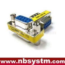 Rs232 cambiador de género, db9 pin hembra a hembra mini adaptador azul