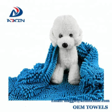 Super Shammy Blue 31x14inch Microfiber Chenille Dog Towel with Hand Pockets