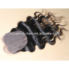 4*4 middle parted wavy brazilian remy hair lace closure