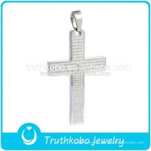 Collier pendentif croix verset biblique en acier inoxydable 316l