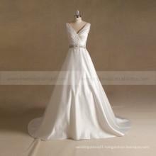 Elegant V-Neck Rhinestone Beaded Pleating A -line Wedding Dress