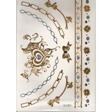 OEM tatuaje pegatinas de lujo de alta calidad de plata y oro color metal impermeable tatuaje pegatinas pulsera CJ001