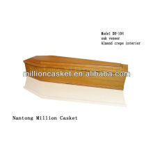 OAK WOODEN EUROPEAN COFFIN MODEL FOR CEMETERY EXPORT