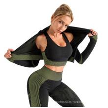 Women Workout Clothes Seamless Leggings Long Sleeve Shirt Yoga Outfit Running Wear Set