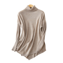 Women's turtleneck sweater 100% cashmere solid color long sleeves fashion plus size sweaters with irregular hem