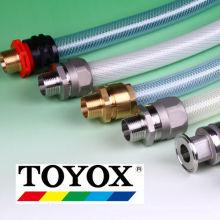 Vários tipos de acoplamentos de alumínio, aço inoxidável, polipropileno ou bronze. Fabricado pela Toyox. Feito no Japão