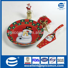ceramic cake plate with server with snowman decoration