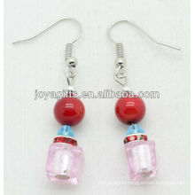 Pink crystal with natural red coral beads earring