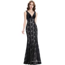 Kate Kasin Sleeveless V-Neck Long Black Lace Evening Dress KK000102-1