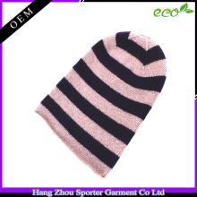 16FZBE08 colourful strip Beanie hat cashmere beanie women