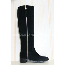 Latest Casual Low Heels Women Warm Long Leather Boots