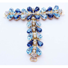 Embellished T Barra Sandals Trims; Blue Gem Pedra T Bar Trims para Sandálias das mulheres