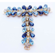 Embellished T Bar Sandals Trims; Blue Gem Stone T Bar Trims for Women's Sandals