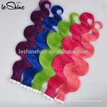 Fábrica de pelo de China 40 unidades por paquete cinta extensiones extensiones de cabello humano brasileño rosa