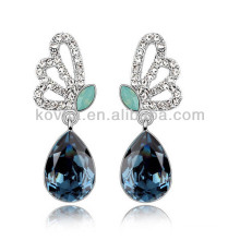 Ailes papillon diamants bijoux bleu saphir goutte boucles d'oreilles en pierre boucles d'oreille en or blanc