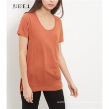 Hellbraunes Single Pocket Damen T-Shirt