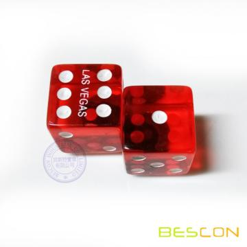 Custom Printing Las Vegas Red Translucent Plastic Dice 19MM