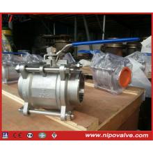 Válvula de bola flotante de rosca forjada de acero inoxidable