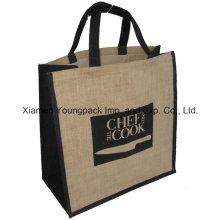 Advertising Promotional Custom Logo Printed Large Reusable Jute Carry Bag