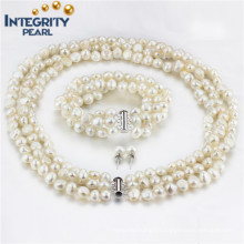Fashion Freshwater 3 Strands AA 8mm Baroque Pearl Set