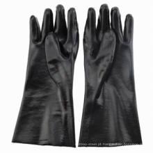 Luvas de PVC preto resistentes aos produtos químicos