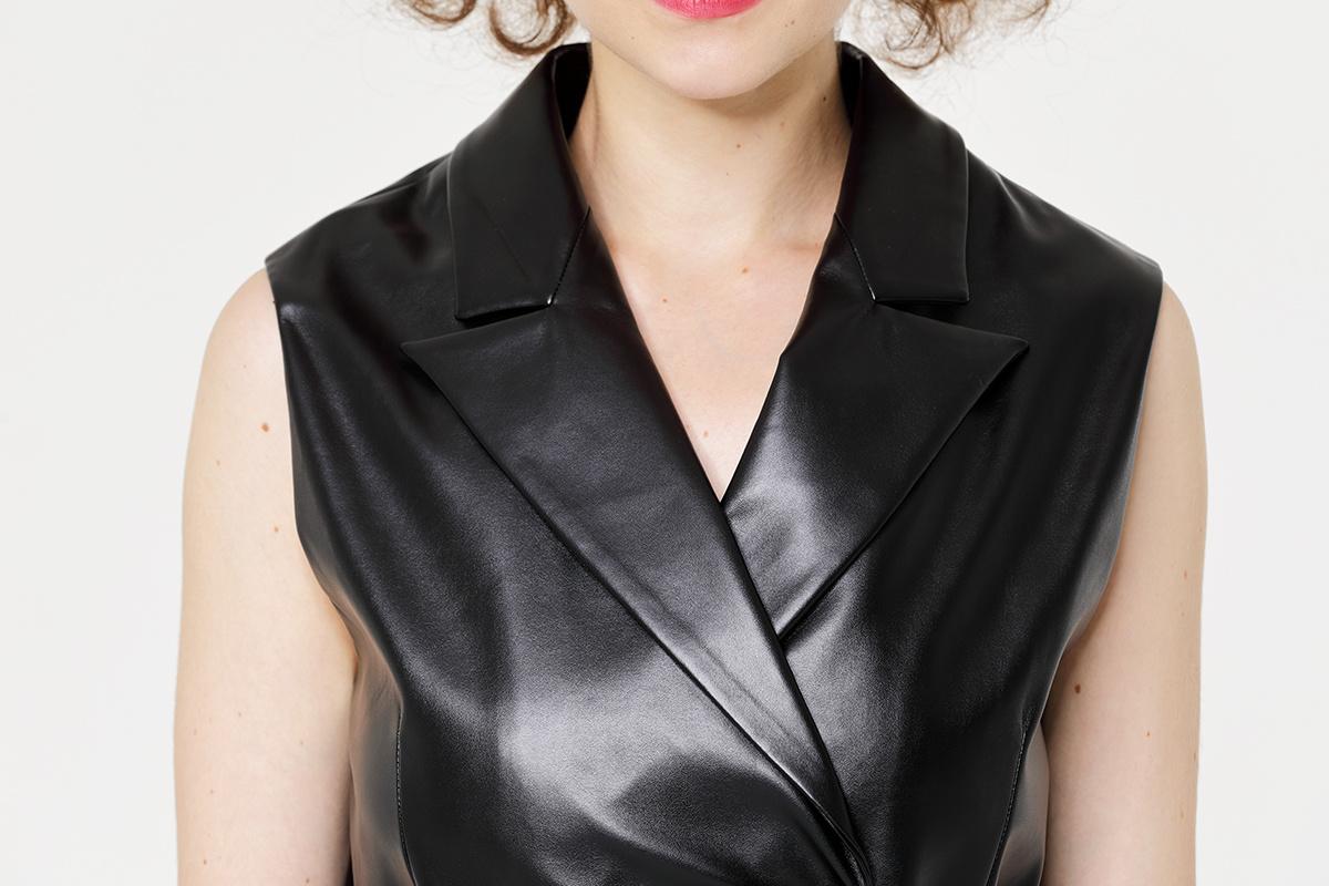 Lady's PU vest Blazer with Waistband