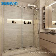 Seawin Sliding Shower Door Matte Black Roller Runner Single Seal Sliding Shower Glass Doors