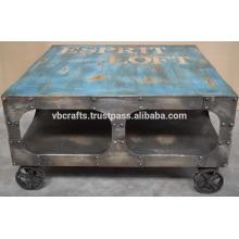 Roda de ferro fundido industrial mesa de café vintage