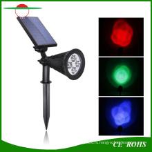 4 светодиода высокой Brigntess Регулируемый Цвет RGB изменяя Солнечный газон сад пятно света настенный светильник Открытый Солнечный Прожектор пейзаж