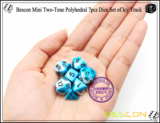 Bescon Mini Two-Tone Polyhedral 7pcs Dice Set of Icy Track-6