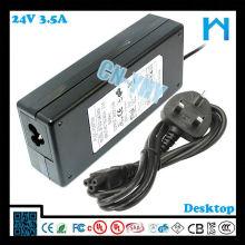 Adaptador de la CA de la sola salida 84w 24v 3.5a CCTV del LCD del LED y dispositivos de escritorio con CE FCC GS C-tick, UL / CUL