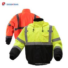 Vestes imperméables chaudes de sécurité de route de contraste de visibilité élevée avec des bandes réfléchissantes de 3M et des poches d'outil classe d'hiver 3