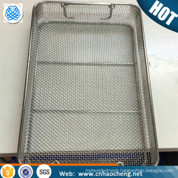 Customize 18/8 stainless steel wire mesh basket with lid