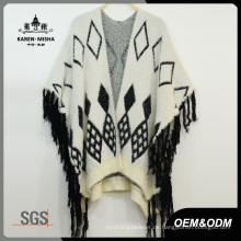 Damen Loose Poncho Sweater mit Fransensaum