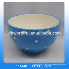 Bacia cerâmica azul elegante, bacia decorativa cerâmica com pintura branca do ponto