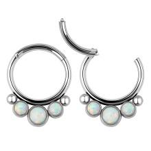 ASTM F136 Titanium 3 Opal Beaded Hinged Septum Clicker Daith Rook Ear Ring Piercing